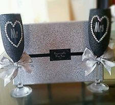 gorgeous customised Mr and Mrs glitter wine glass gift set