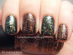 No Nekkid Nails: China Glaze Wicked Collection Glitter Goblin and Make a Spectacle over Zoya Raven