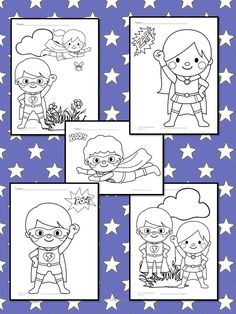 Free Superheroes Coloring Pages for preschool or kindergarten - Large, easy to color drawings will help with fine motor practice and control.