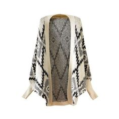 Apricot Batwing Long Sleeve Geometric Pattern Cardigan ($44) ❤ liked on Polyvore featuring tops, cardigans, batwing cardigan, brown cardigan, long sleeve cardigan, batwing top et brown tops