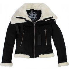 ce16e035492ff MOOSE KNUCKLES LADIES SHORT AVIATOR MK2005LA-BK Black Jacket Coat Womens  Size M Game Ui