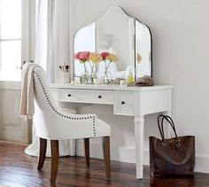 I'll kill for this vanity and mirror , literally - Meredith Vanity Desk | Pottery Barn