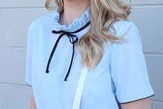 Brooke-Lyn Edmonds | Blog | VINTAGE BLUE #fashion #style #vintage #blue #ribbon #bow #cute #hair #blonde #nude #lipstick #skirt #love #ootd #outfit #inspo #inspiration #blouse #wardrobe #stylist #closet #girly #feminine #chic #office #look #spring #pantone