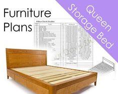 Walnut Storage Bed Frame - Modern Platform Bed No. 2 - Modern Solid Wood Storage Bed Frame - Bed With Drawers - Storage Drawers Low Platform Bed, Modern Platform Bed, Bed Frame With Drawers, Bed Frame With Storage, The Plan, How To Plan, Storage Bed Queen, Bed Storage, Storage Drawers