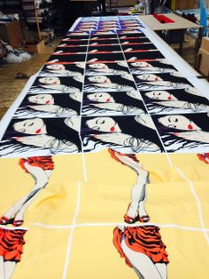 Deborah Azzopardi Art Cushions being manufactured.  On sale at    http://cushioncouture.dev.visualsoft.co.uk/deborah-azzorpardi-m8