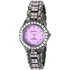 Armitron/3689PMDG Pink Swarovski Crystal Accented Gunmetal Bracelet... ($67) ❤ liked on Polyvore featuring jewelry, watches, dial watches, swarovski crystal watches, pink dial watches, gun metal watches and square watches