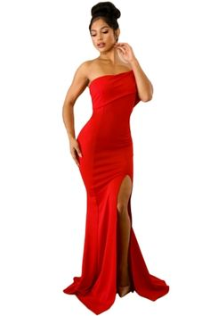 US  10.24 Red Off The Shoulder One Sleeve Slit Maxi Party Prom Dress Party  Dresses 0d87a746212c