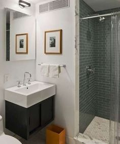 """Consider getting rid of the tub entirely. """"It's actually more comfortable to take a shower if you're not standing in the tub,"""" Lamarre says, """"and a frameless glass shower makes the space look bigger."""" Older homeowners or those with mobility issues will find it convenient to enter a shower without having to climb over the side of a tub."""