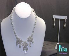 Czech crystal and glass pearl special occasion necklace set