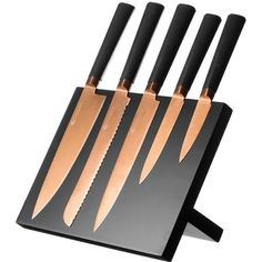 Viners Titanium Copper Knife Block (6 Piece) (£60) ❤ liked on Polyvore featuring home, kitchen & dining, cutlery, titanium chef knives, viners cutlery, titanium knives, black knife block and black cutlery