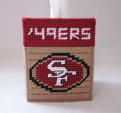 San Francisco 49ers tissue box cover plastic canvas PATTERN ONLY
