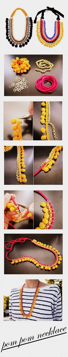 La Mercerie du Faubourg aime ce collier pompon.... Cool but I'll probably never make this!