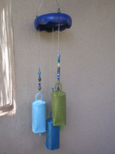 upcycled salad bowl with giant camel bells - too cute & love the colors