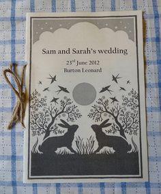 Homemade wedding programme with twine