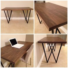 Custom Dining table. Wood furniture. wood desk. industrial style. contemporary furniture. dining room. office furniture