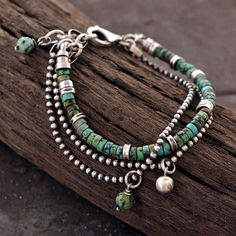 African Turquoise Bracelet in Oxidized 925 Sterling Silver, African Turquoise, Signed, © ewa lompe Beaded Jewelry, Jewelry Bracelets, Bracelet Charms, Beaded Necklaces, Strand Bracelet, Bracelets With Charms, Ankle Bracelets, Bracelet Set, Bangles