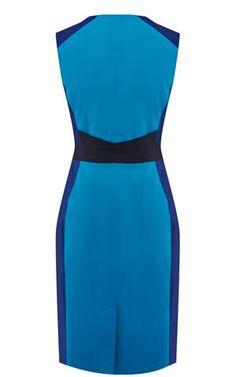 Karen Millen Gráfico Colourblock vestido azul e multi