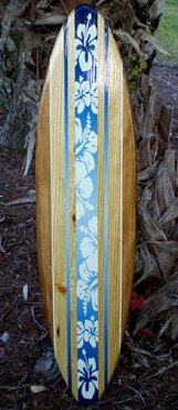 surf room...love the wood tone with the hibiscus on a bright color!!!