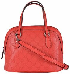 "0d64851330c Gucci Women s GG Sporting Red Leather Convertible Crossbody Mini Dome Purse  Clout WearBeautiful ""Brandishing Red"