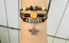 Unisex fashion metal butterfly and orange gem leather by goodlucky, $7.29