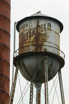 Water Tower in Paris, Kentucky. Old Advertising for Chesterfield Cigarettes Chesterfield Cigarettes, Tower In Paris, Fire Escape, Old Paris, Tank I, My Old Kentucky Home, Water Tower, Old Buildings, Water Tank