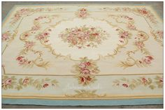 ivory french aubusson rugs | aubusson rug 8x10 Blue cream pink