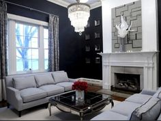 grey and red | Glossy black mirror and red coral accents! Chocolate brown tufted ...