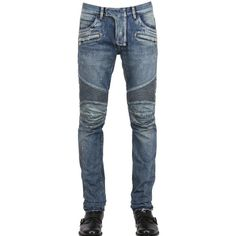 BALMAIN 18cm Painted Denim Biker Jeans ($1,888) via Polyvore featuring mens, men's clothing, men's jeans, men and blue