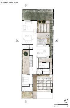 Querétaro 주거지역에 작은 주택을 만드는 두 채의 트윈 하우스 건설 프로젝트 중 그 첫 단계를 소개한다. 7미터 높이의 담벽 사이에 형성되어 있는 고립된 부지에 위치한 프로젝트인 만큼 외부와 내부 공간에..