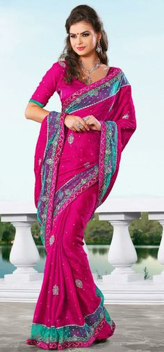 USD 88.02 Pink Jacquard Silver Work Party Wear Saree 28909