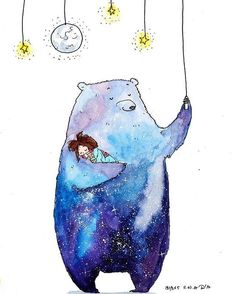 cute animals to draw Create a beautiful and simple watercolor galaxy painting using watercolor. In this step-by-step tutorial, you'll learn how to create this painting yourself. Bear Art, Animal Art, Sketches, Galaxy Painting, Art Drawings, Cute Art, Art Studios, Illustration Art, Cute Drawings