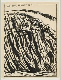 Raymond Pettibon's Surf Paintings - No Title (Are your motives), 1987 Ink on paper