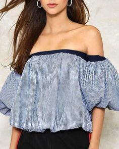 e3d5def0aef Plaid off the shoulder tops boat neck puff sleeve style for women Shoulder  Tops, Off