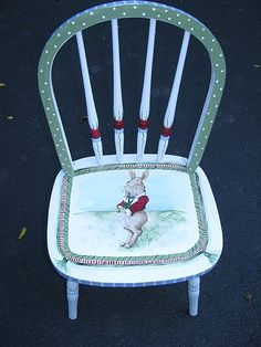 """a pinner says: """"I'm Late."""" my chair Bench Furniture, Chair Bench, Furniture Makeover, Home Furniture, Hand Painted Chairs, Hand Painted Furniture, Recycled Furniture, Decorated Chairs, Furniture Inspiration"""