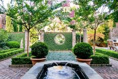 This formal garden defined by brick paths, statuary and classic Southern plants, is an oasis in the heart of Charleston, South Carolina. Outdoor Rooms, Outdoor Gardens, Courtyard Gardens, Outdoor Ideas, Brick Courtyard, Outdoor Living, Formal Gardens, Love Garden, Shade Garden