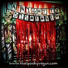 The Spooky Vegan: 31 Days of Halloween: A Night to Dismember Zombie Prom Halloween Party. This past weekend Mister Spooky and I hosted our Zombie Prom Halloween party and it was a great success! It was such fun planning it all . Halloween Zombie, Halloween Tanz, Halloween Fotos, Happy Halloween, 31 Days Of Halloween, Halloween Birthday, Halloween Party Decor, Holidays Halloween, Halloween 2017