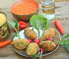 Lebanese red lentil kibbeh via Taste of Beirut. #vegan