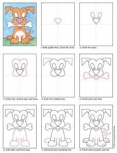 Draw a Cartoon Dog · Art Projects for Kids - Kid's Crafts- Fall 2015 - Cartoon Dog diagram - Drawing Cartoon Characters, Cartoon Drawings, Cartoon Dog, Easy Cartoon, Children Cartoon, Drawing Lessons, Art Lessons, Drawing Art, Drawing Faces