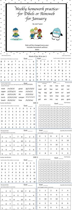 $ January homework for students struggling with AIMSWEB. This is the kindergarten practice paper. It includes LNF, LSF, PSF, NWF, NI, OF, MN, and QD. This product includes papers with and without the dates. The dates will be changed each year.