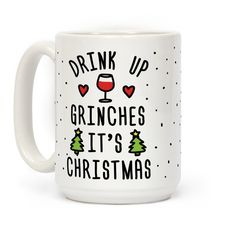 Show off your love of the best holiday of the year with this Christmas lover's, holiday inspired, grinch humor, wine drinking coffee mug! Drink up, grinches!