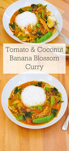 Tomato & Coconut Banana Blossom Curry |Euphoric Vegan Curry Recipes, Veggie Recipes, Indian Food Recipes, Veggie Dinners, Healthy Recipes, Recipes With Banana Peppers, Stuffed Banana Peppers, Banana Curry, Banana Blossom