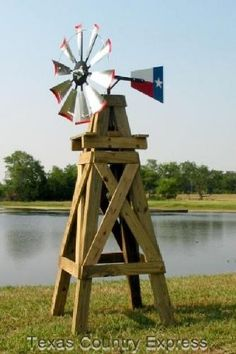 Lonestar Decorative Windmill With Texas Flag Rudder - Davids E Stove Shop Yard Windmill, Wooden Windmill, Windmill Decor, Outdoor Projects, Wood Projects, Outdoor Decor, Outdoor Fun, Garden Projects, Outdoor Living