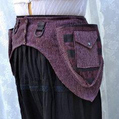 #pocketbelt  Purple striped utility belt - #steampunk utility belt - womens utility belt - cute fanny pack belt pouch - Extra Small