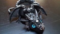 Silver Night Baby Dragon by MakoslaCreations on Etsy, $64.00