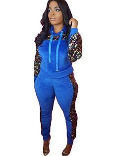 98dd734b9719 Two Pieces Sequin Drawstring Hoodie Sweat Suit. Two Piece Pants SetWomen s  ...