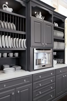 Create an eye-catching beverage center that your guest will envy.  Omega Cabinetry makes it easy to create a one-of-kind solution to display your vast china collection.