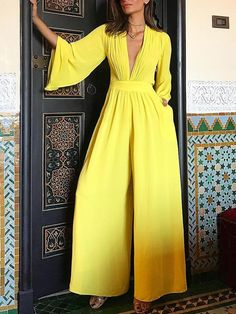 2018 New Arrival Summer Fashion Yellow Elegant Jumpsuit Female Ruched Plunge Flared Sleeve Wide Leg Jumpsuit Overall Trend Fashion, Fashion Mode, Fashion Design, Womens Fashion, Fashion Stores, Ladies Fashion, Fashion Fashion, Fashion Brands, Fashion Tips