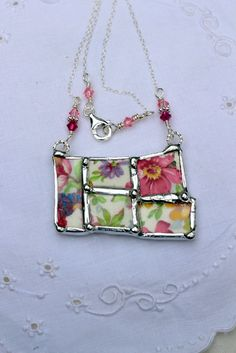 Broken China Jewelry, Mosaics Jewelry, DuBarry Chintz China, Sterling Silver Chain - This charming necklace has been handcrafted from DuBarry