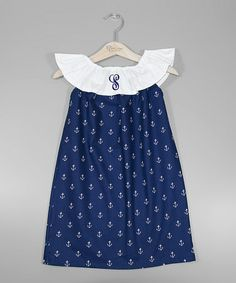 Another great find on #zulily! Navy & White Anchor Initial Dress - Infant, Toddler & Girls #zulilyfinds