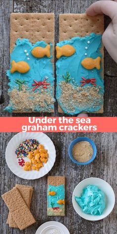Under the Sea Graham Crackers - an easy to make edible kid craft or edible preschool craft! Perfect treat for an under the sea birthday party or a under the sea themed school lesson. videos for kids Under the Sea Graham Crackers Preschool Snacks, Activities For Kids, Preschool Crafts, Preschool Cooking, Summer Camp Activities, Ocean Activities, Fun Meals For Kids, School Snacks For Kindergarten, Summer Food Kids